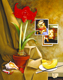 Thumbnail of Still Life with Caravaggio and Raphael, a painting by Sandy Freckleton Gagon