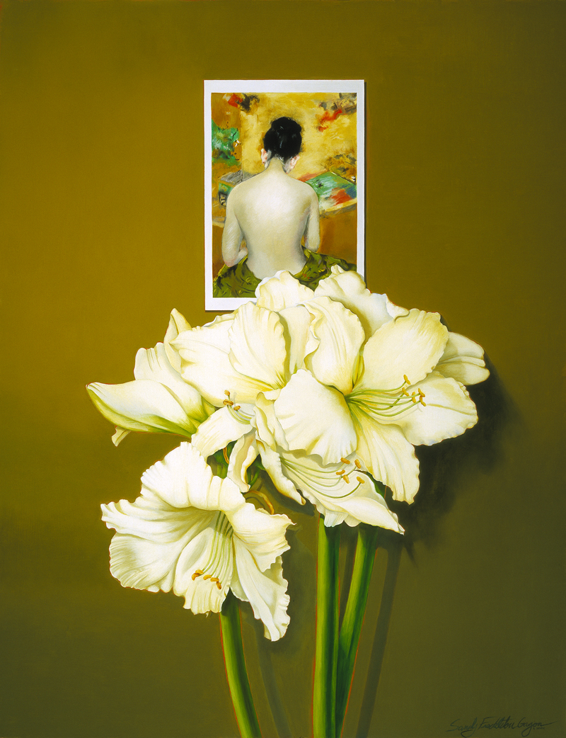 Still Life with Chase and Amaryllis, a painting by artist Sandy Freckleton Gagon